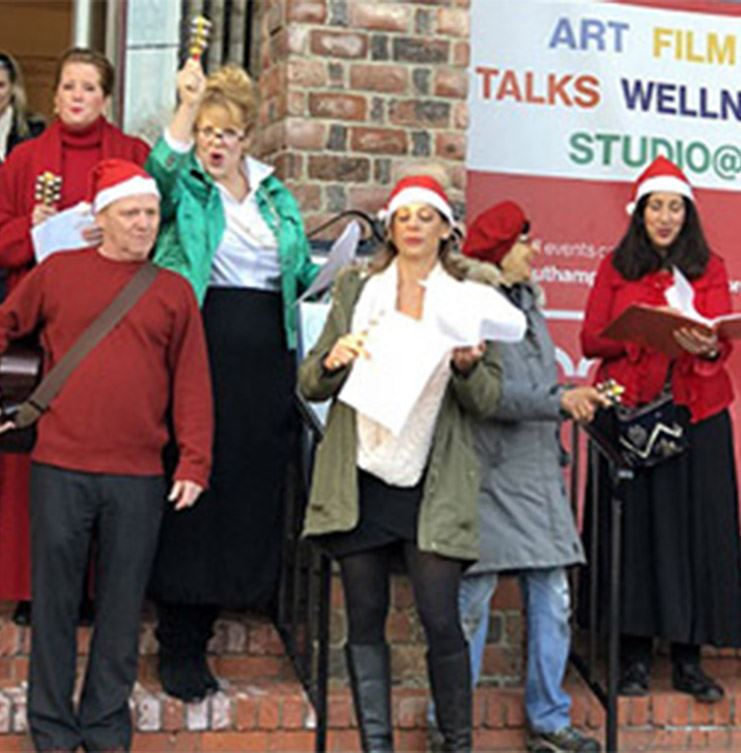 image of caroling at Southampton Arts Center